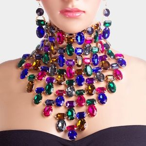 Jewelry - Cute Crystal Collar Choker Statement Necklace Set